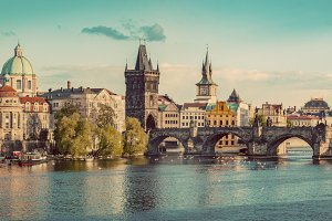 Prague panorama. Vintage.