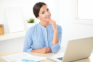 Cute Woman at Home Desk