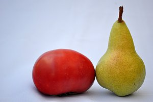 pear and tomato