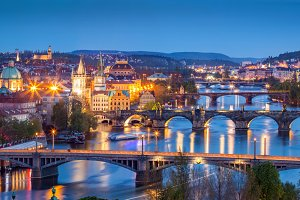 Prague at night. Czech Republic.