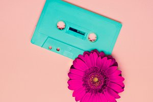 Minimalism Retro  Cassete and Flower
