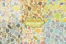 Autumn leaves seamless pattern set 1