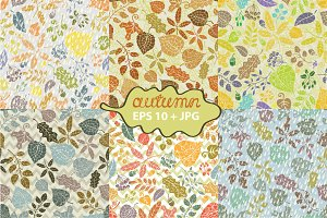 Autumn leaves seamless pattern set 1