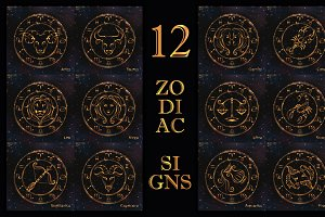 SET / GOLDEN ZODIAC SIGNS / VECTOR
