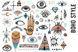 Boho Style Doodle Clipart
