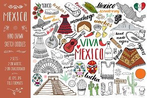 Mexico Sketched Doodles Vector set