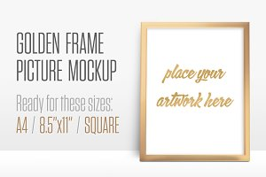 Golden Frame Picture Mockup