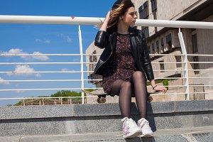 Teenage girl sitting