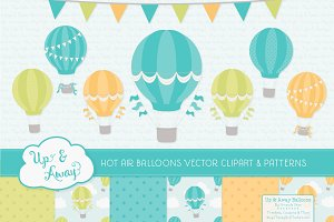 Boys Hot Air Balloons Vectors