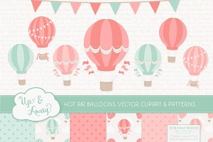 Mint & Coral Hot Air Balloons