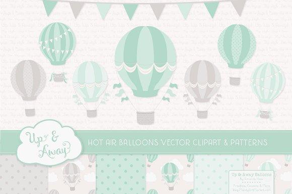 Mint green hot air balloons illustrations creative market