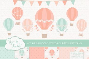 Mint & Peach Hot Air Balloons