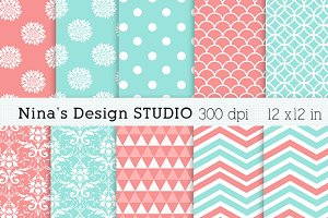 Coral and Dusty Aqua Digital Papers