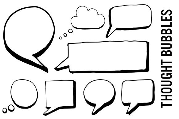 Speech and Thought Bubbles Clipart ~ Graphics ~ Creative