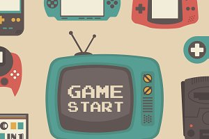 retro game player set