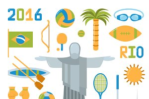 Rio summer olympic games vector set
