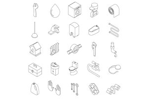 Sanitary engineering icons set