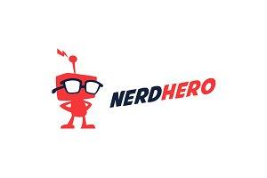 Nerd Hero - Geek Robot Logo