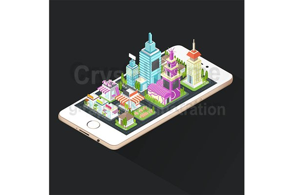 Isometric building on smart phone