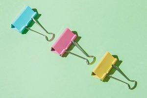 line of school paper clips