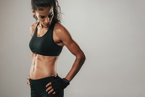 Woman in black athletic top