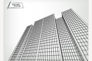 Skyscrapers landscape vector