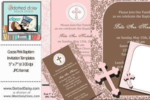 Cocoa Pink Baptism Templates