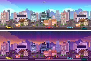 Day and night city Panorama