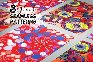 Set of 8 floral seamless patterns