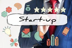 Start-up drawn on virtual board by businessman