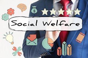 Social Welfare drawn on virtual board by businessman