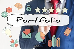 Portfolio drawn on virtual board by businessman