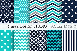 Teal and Pink Digital papers