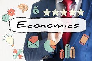 Economic drawn on virtual board by businessman