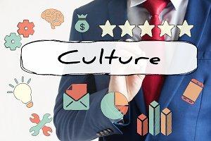 Culture drawn on virtual board by businessman