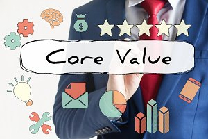 Core Value drawn on virtual board by businessman
