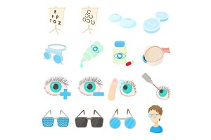 Vision correction icons set