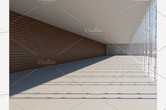 Empty Spacious Hall. 3D Rendering - Illustrations