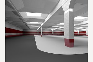 Underground Parking. 3D Rendering