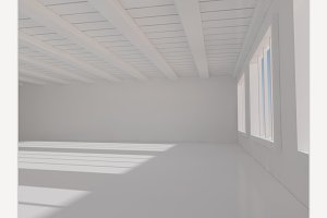 Spacious White Room. 3D Rendering