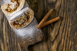 Strudel with apples, nuts and cinnamon.