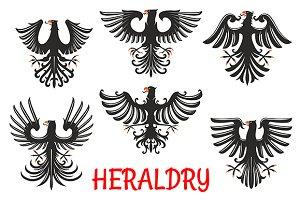 Black eagles heraldic birds
