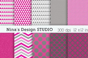 Hot Pink and Gray Digital Papers