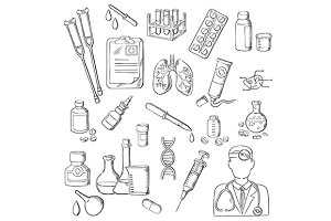 Sketches of medical icons