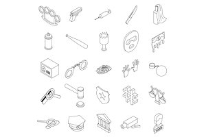 Crime icons set, isometric 3d style