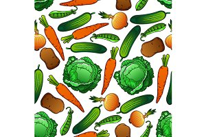 Farm vegetables seamless pattern