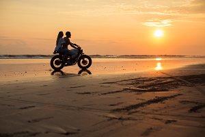 Couple on  custom motorcycle