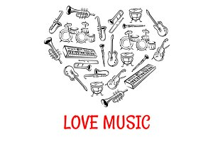 Heart shape with musical instruments