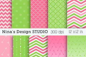 Pink and Green Digital Papers
