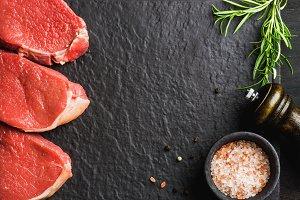 Raw beef Eye Round steaks